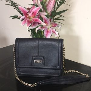 BCBG black purse with gold chain handle